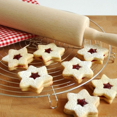 Linzer gevulde Kerstkoekjes